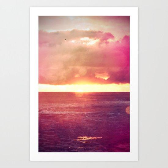 Ocean Sunset Bokeh Art Print