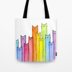 Rainbow of Cats Funny Whimsical Colorful Cat Animals Tote Bag