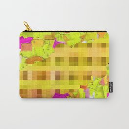 green yellow pink brown painting and pixel abstract background Carry-All Pouch