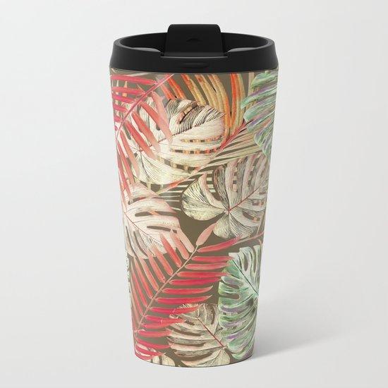 Jungle Tangle Red On Brown Metal Travel Mug