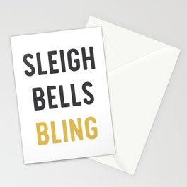 Sleigh Bells Bling Christmas Design Stationery Cards