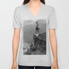 Eagle's Lookout, Blackfoot tribe members, Glacier Park, Montana, 1913 black and white photography Unisex V-Neck