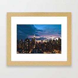 New York City By Night Framed Art Print