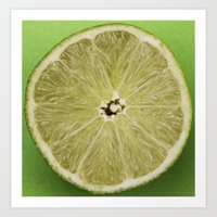 lime green Art Prints featuring lime by Jenny Goldring