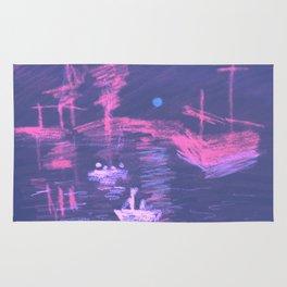 Violet Neon Lights Sunrise Rug