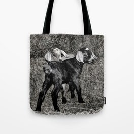 Baby Goats on the Hay Tote Bag