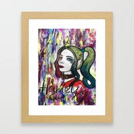 Nail Polish Paintng Of Harley Quinn Framed Art Print