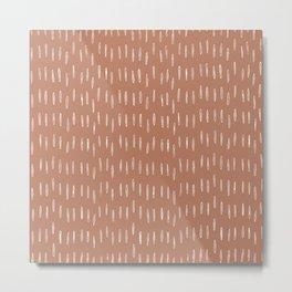 Boho Raindrops Abstract Pattern, Terracotta Metal Print