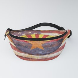 Arizona and USA flag on old wooden planks. Fanny Pack