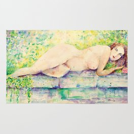 Watercolor Nude Sleeping Female Impressionlist (Female Model)  Rug