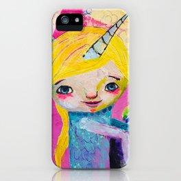 Unicorn Rainbow Girl iPhone Case