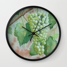 White On The Vine Wall Clock
