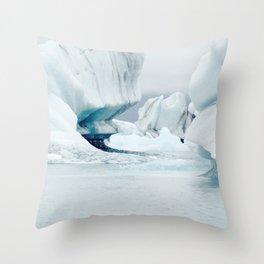 Iceberg blue lagoon Icelandic travel photography Throw Pillow