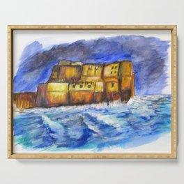 Stormy Castle dell'Ovo, Napoli Serving Tray