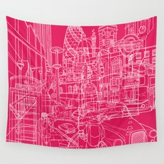 London! Hot Pink Wall Tapestry