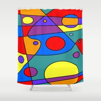 solar system Shower Curtains featuring Abstract #71 Solar System by Ron Trickett