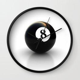 black pool billiard ball number 8 Wall Clock