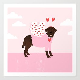 Chocolate Lab love bug cute pet gifts valentines day labrador retriever Art Print