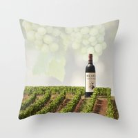 wine Throw Pillows featuring Wine by Gouzelka