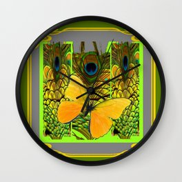 GREEN ART NOUVEAU BUTTERFLY PEACOCK PATTERNS Wall Clock
