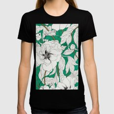 green peonies Black Womens Fitted Tee MEDIUM