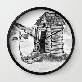 Outhouse, Primitive Art, Black & White Print of Painting by Faye Wall Clock