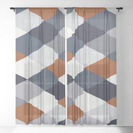 Navy Rust Geometry VIIB Sheer Curtain