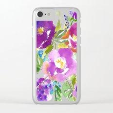 Purple Violet Watercolor Flower Bouquet Clear iPhone Case