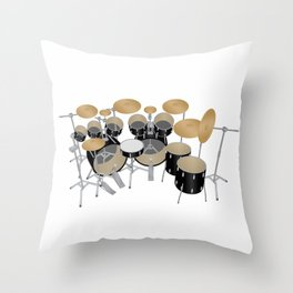 Black Drum Kit Throw Pillow