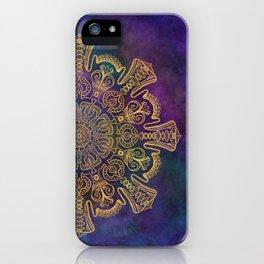 Gold Mandala on Colorful Cosmic Background iPhone Case