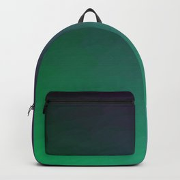 Peacock Green purple blue black ombre waves Backpack