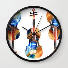 Violin Art By Sharon Cummings Wall Clock
