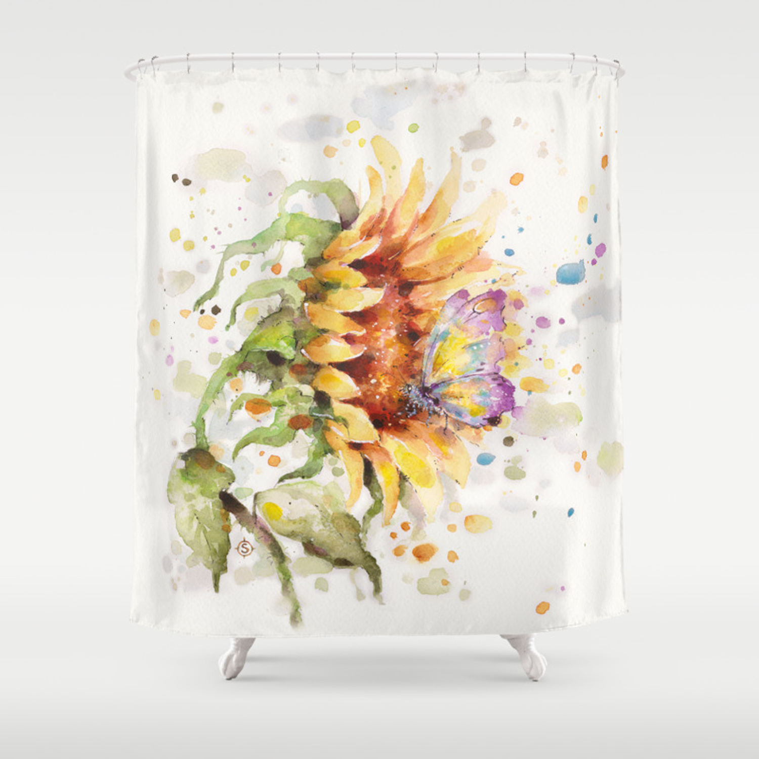 Hand In Erfly Sunflower Shower Curtain