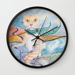cat on bike Wall Clock