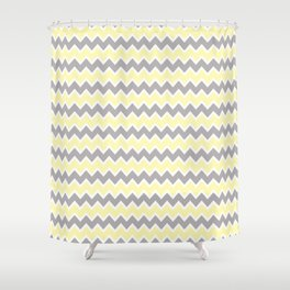 Grey Gray and Yellow Chevron Shower Curtain