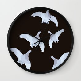 White Willow grouse Birds On A Black Background #decor #buyart #society6 Wall Clock