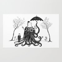 lovecraft Area & Throw Rugs featuring Young Master Lovecraft Finds A Friend by Jon Turner