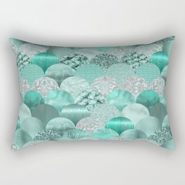 Green Turquoise Glamour Mermaid Scale Pattern Rectangular Pillow
