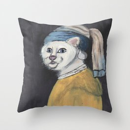 cat with a pearl earring Throw Pillow