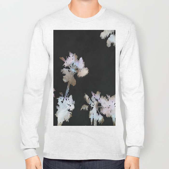 Tropical Palms On Black Background Long Sleeve T-shirt