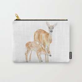 Mother and Baby Deer Watercolor Carry-All Pouch