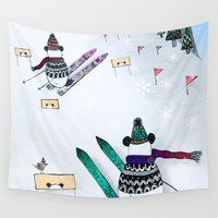 skiing Wall Tapestries featuring Pandas gone skiing by monicamarcov