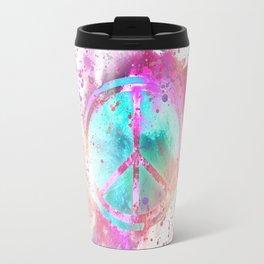 Colorful Painted Peace Symbol Travel Mug