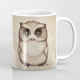 """""""The Little Owl"""" by Amber Marine ~ Graphite & Ink Illustration, (Copyright 2016) Coffee Mug"""