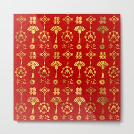 Gold on Red  Lucky Chinese Symbols  Pattern Metal Print