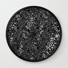 Video Gamer Pattern Black, White and Grit Wall Clock