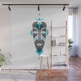 African Mask Blue Wall Mural