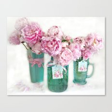 Romantic Shabby Chic Cottage Pink Aqua Watercolor Peonies Print Home Decor Canvas Print