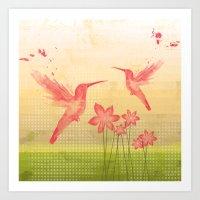 hummingbird Art Prints featuring Hummingbird by Kakel