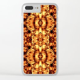 Brown Yellow  Flower Pattern Clear iPhone Case